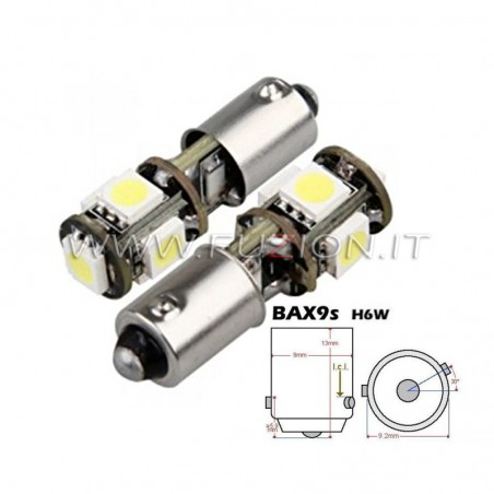LAMPADE BAX9S H6W H21W 5 LED CANBUS FUZION